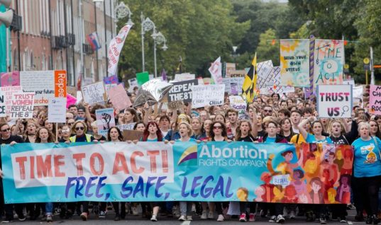 Thousands March For Choice Protesting Ireland's Abortion Ban in Dublin