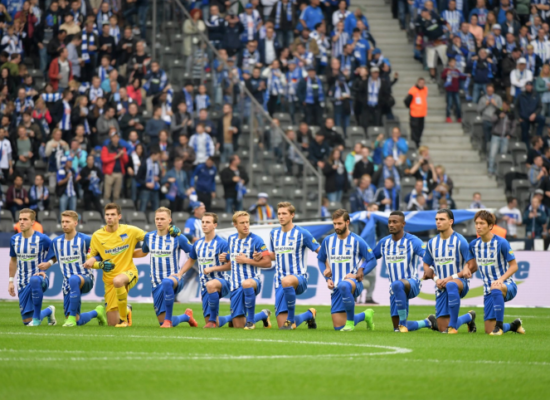 German Soccer Team Hertha Berlin #TakeAKnee Before Game