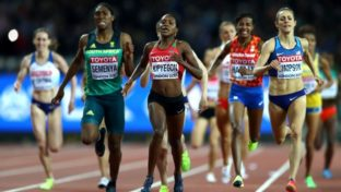 Caster Semenya running with others in a 2017 championship