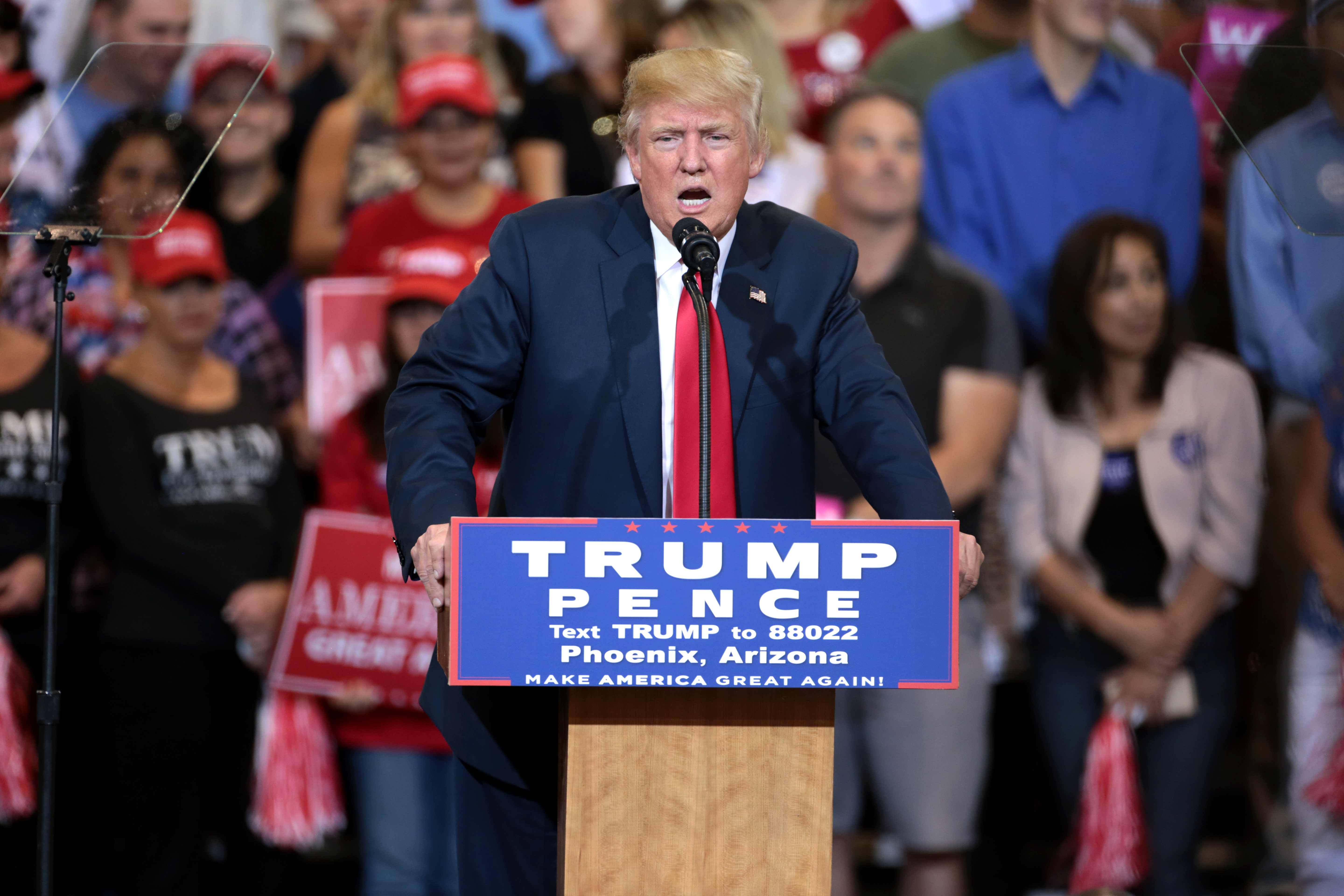 President Donald Trump speaks at a rally.